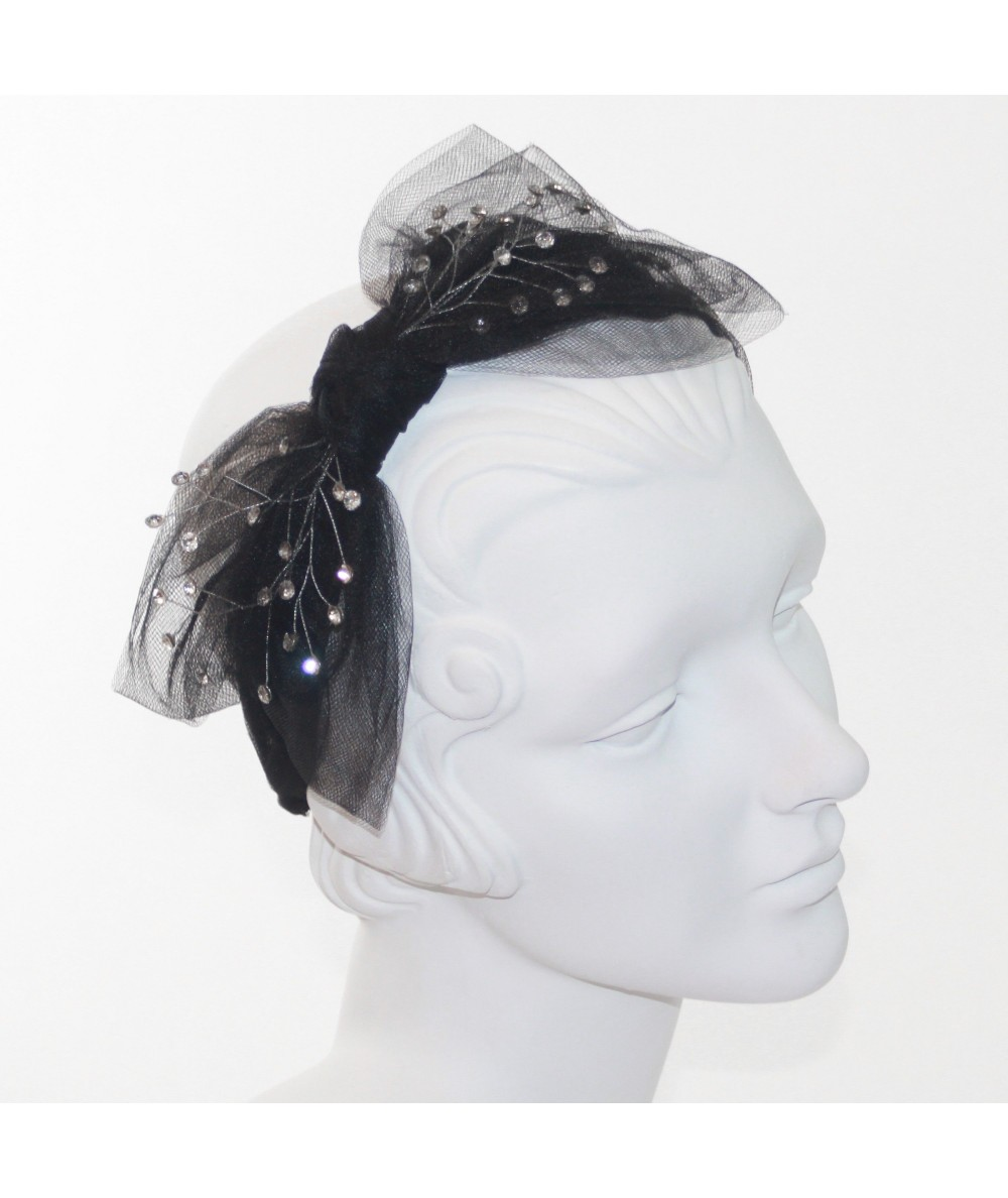 Black Tulle Side Bow with Clear Cosmic Spray Headband