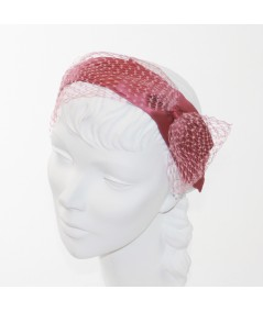 Alta Rosa Satin and Blush Veiling Side Bow Headband