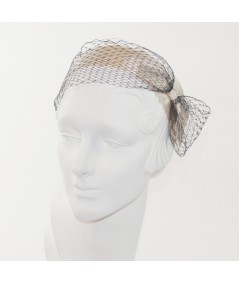 Ivory Satin and Black Veiling Side Bow Headband