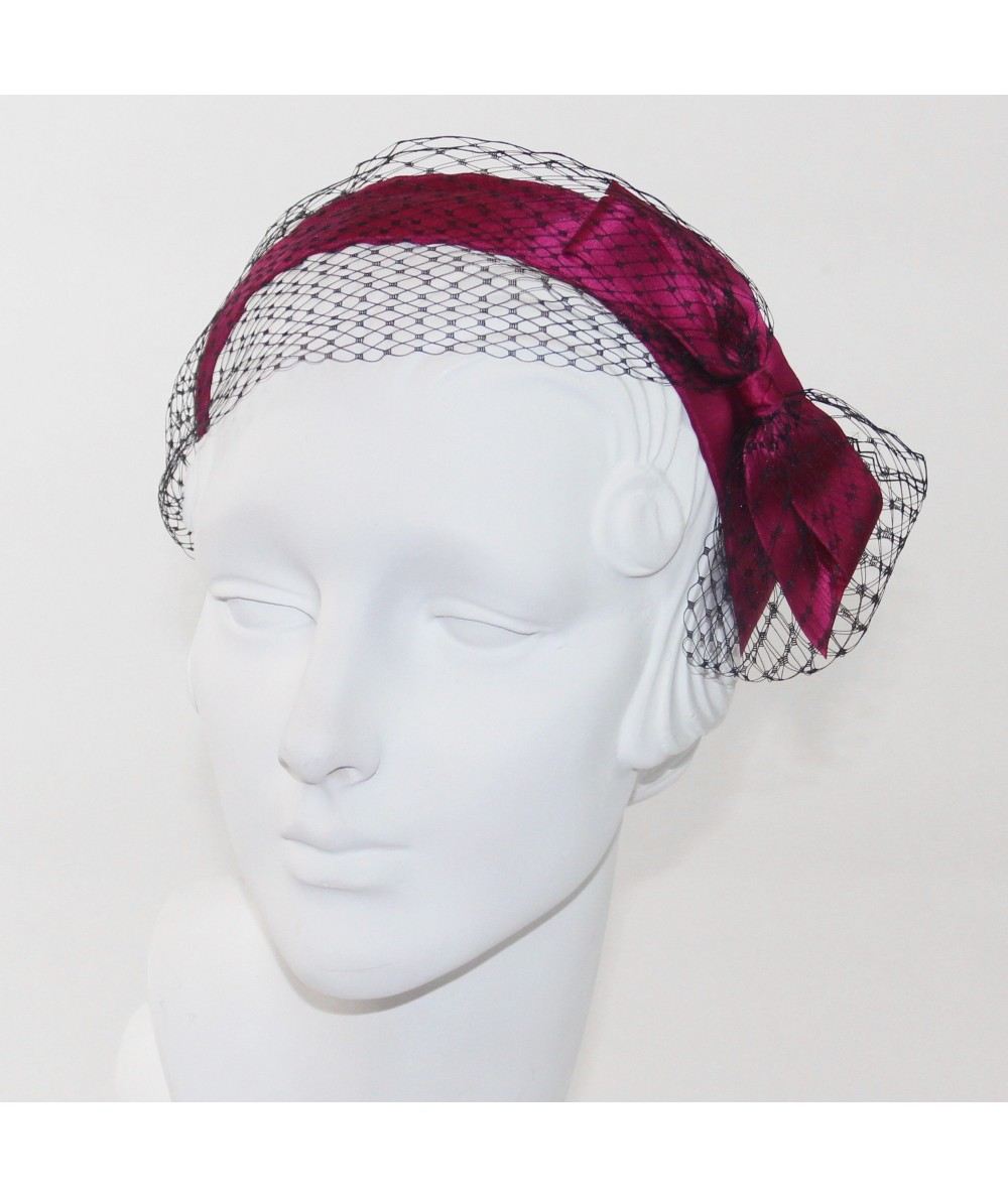 Fuchsia Satin and Black Veiling Side Bow Headband