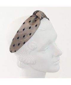 Beige with Black Dotted Tulle Harlow Headband