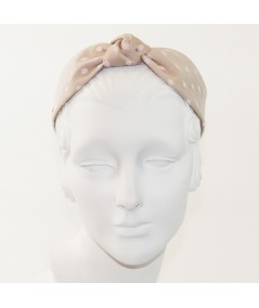 Beige with Pale Pink Dotted Tulle Harlow Headband