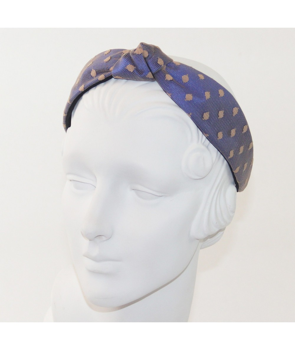 Royal with Beige Dotted Tulle Harlow Headband
