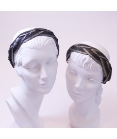 Black with Silver - Black with Gold Braided Metallic Trim Headband