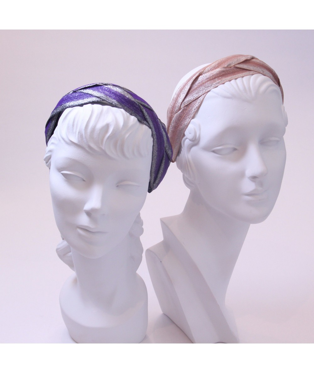Purple with Silver - Blush Braided Metallic Trim Headband