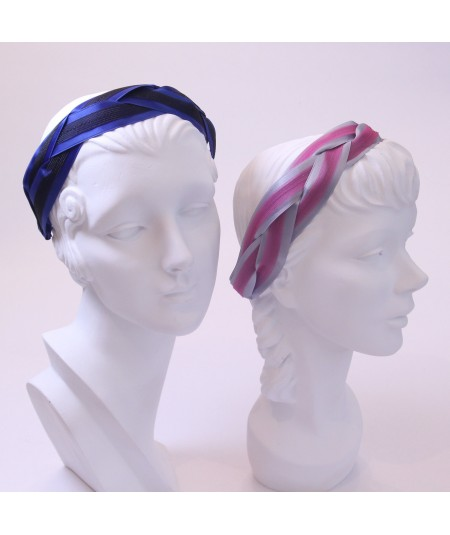 Royal with Black - Grey with Fuchsia Satin and Horse Hair Braided Headband