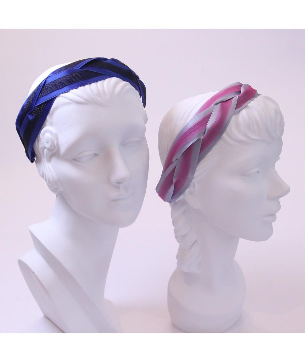 Royal with Black - Grey with Fuchsia Satin and Horse Hair Braided Headband