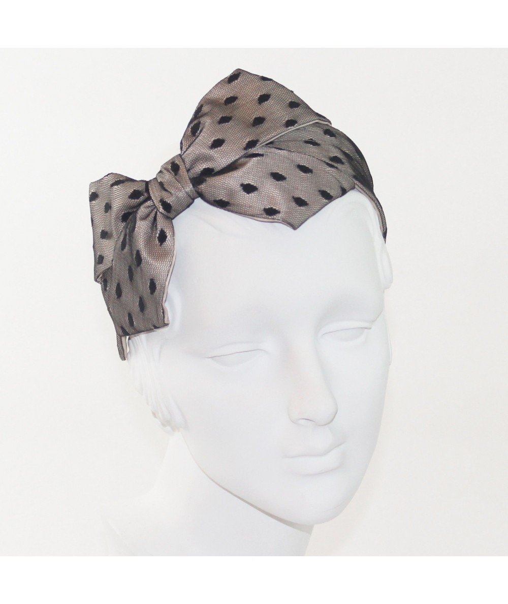 Beige with Black Dotted Tulle Carolina Bow Headband