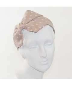Beige with Pale Pink Dotted Tulle Carolina Bow Headband