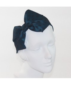 Teal with Black Dotted Tulle Carolina Bow Headband