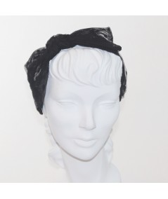 Black Dotted Tulle Side Bow Headband