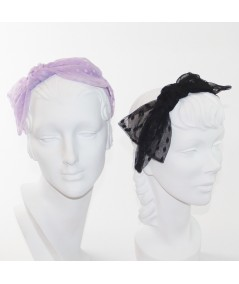 Lavender - Black Dotted Tulle Side Bow Headband