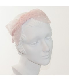 Pale Pink Dotted Tulle Side Bow Headband
