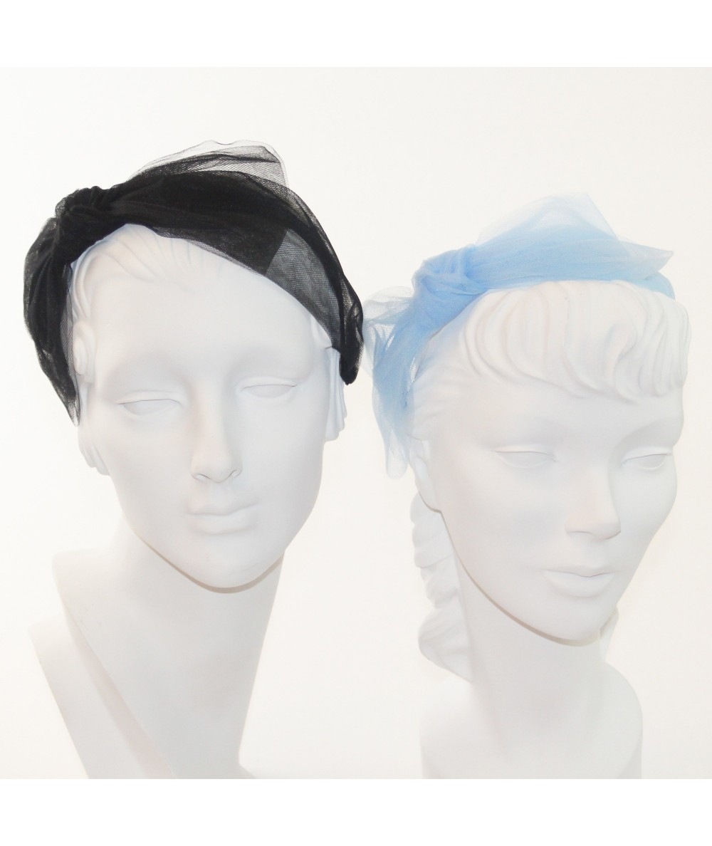 Black - Pale Blue Large Tulle Side Bow Headband