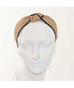 Wheat Toyo with Black Grosgrain Center Turban Headband