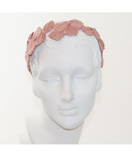 50s Inspired Straw Headpiece  - Raspberry with Peach Stitch