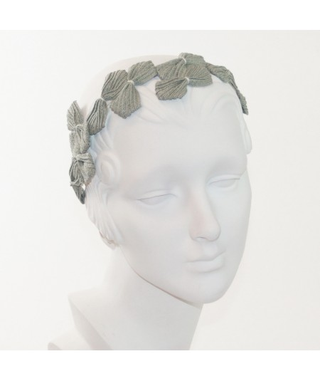 50s Inspired Straw Headpiece - Sage with Ivory Stitch