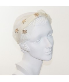 Ivory Tulle Extra Wide Headband Trimmed with Gold Star and Center DIvot