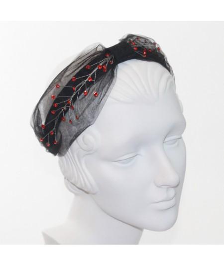 Cosmos Turban Sparkle Beaded Headband  - Black with Red