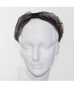 Cosmos Turban Sparkle Beaded Headband - Black with Red