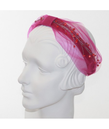 Cosmos Turban Sparkle Beaded Headband  - Hot Pink with Red