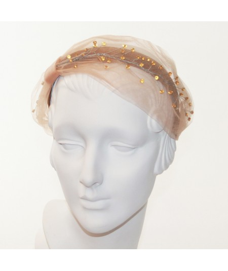 Amber Tulle and Amber Cosmic Spray Side Turban Headband