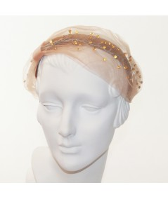 Amber Tulle and Amber Cosmic Spray Side Turban Headband