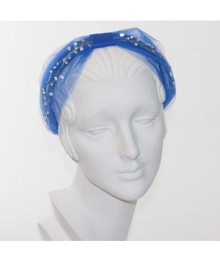 Cosmos Turban Sparkle Beaded Headband  - Royal with Clear