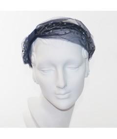 Navy Tulle and Gunmetal Cosmic Spray Side Turban Headband