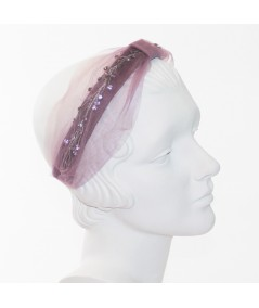 Cosmos Turban Sparkle Beaded Headband - Wisteria with Lavender