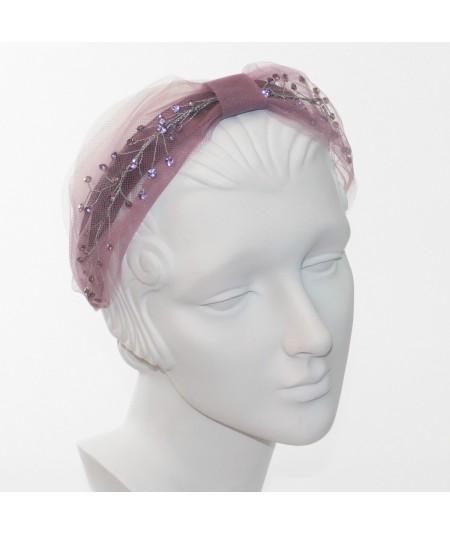 Cosmos Turban Sparkle Beaded Headband  - Wisteria with Lavender