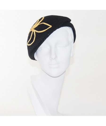 Pagalina Straw Beret with Fluer di Lis Detail