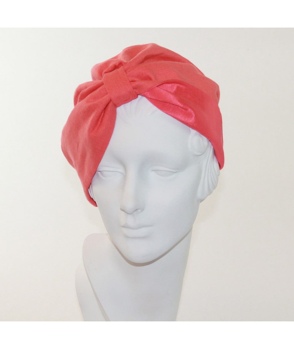 Reversible Coral Linen and Coral Bengaline Turban Hat