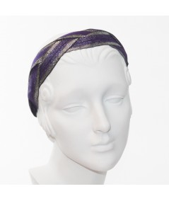 Purple with Silver Braided Metallic Trim Headband