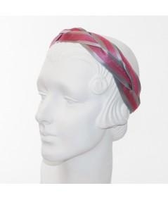 Grey Satin and Fuchsia Horse Hair Braided Headband