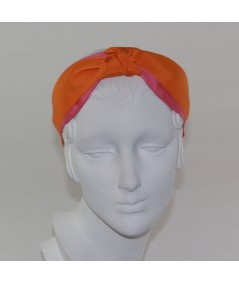 Coral with Orange Breeze Grosgrain Two-Toned Center Turban Headband