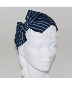 Navy with Country Blue Grosgrain Stripe Carolina Bow Headband