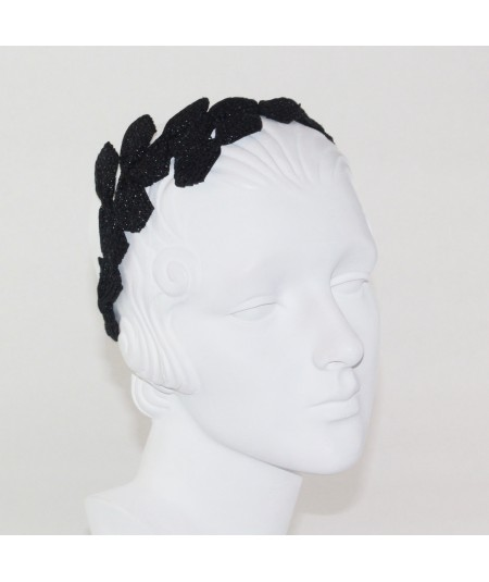 Pagalina Straw Asymmetrical Bow Trimmed Headpiece