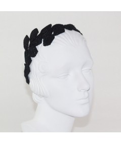 Pagalina Straw Asymmetrical Bow Trimmed Headpiece