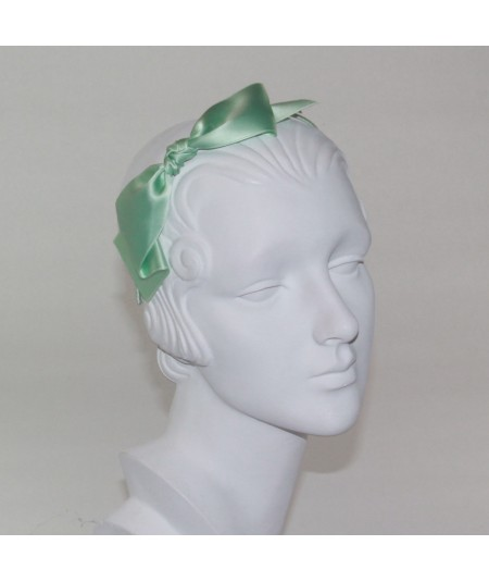 Satin Bow Headband - Mint