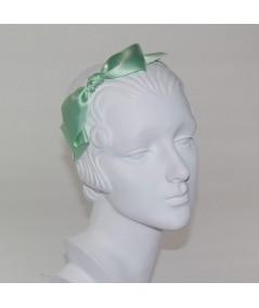Satin Bow Headband - Mint