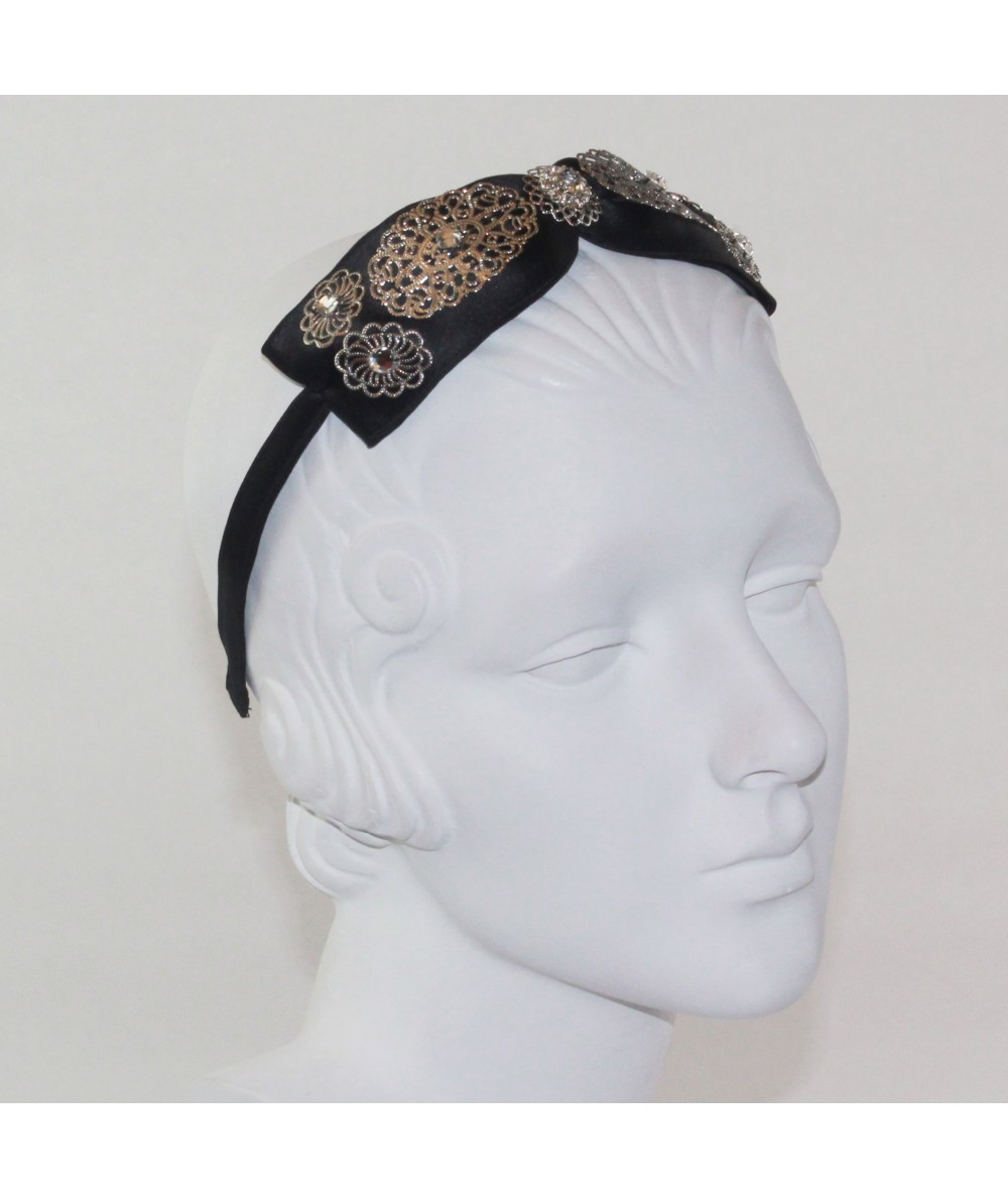 Black Center Satin Bow with Metal Flower Trim Headband