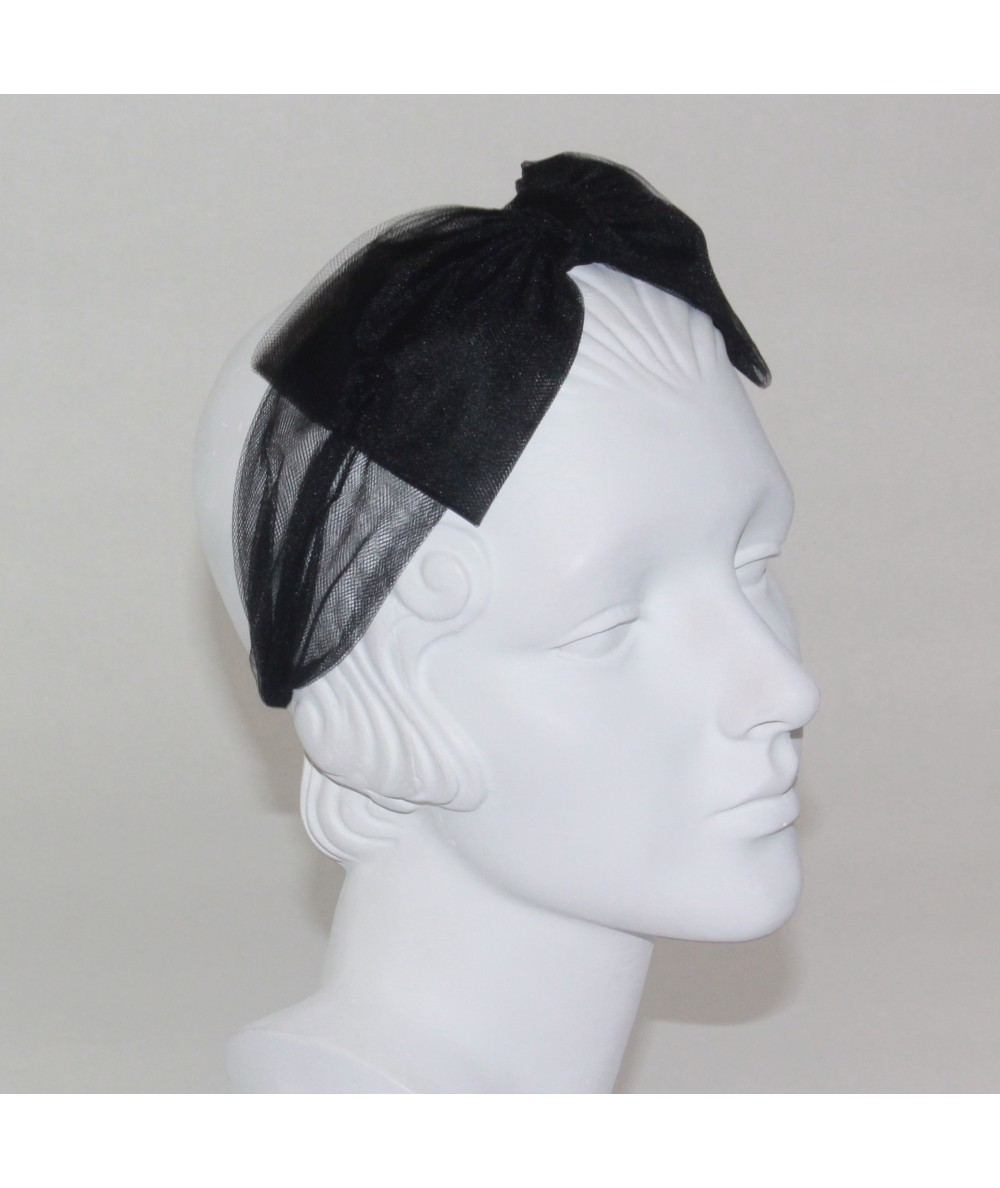 Tulle Headband Trimmed with Center Bow for Women