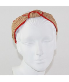 Wheat Toyo with Red Grosgrain Center Turban Headband