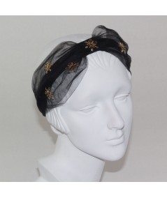 Black Tulle Extra Wide Headband Trimmed with Gold Star and Center DIvot