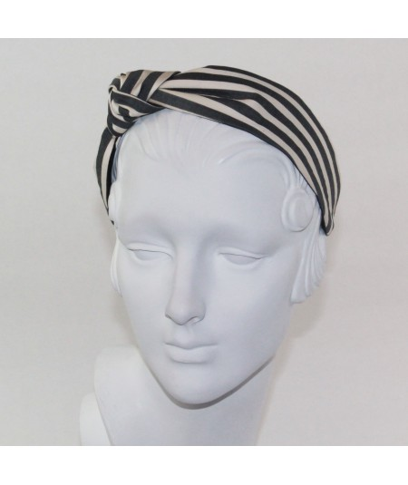 Cream/Charcoal Cotton Stripe Side Turban Headband