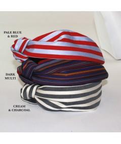 Pale Blue/Red - Dark Multi - Cream/Charcoal Cotton Stripe Side Turban Headband