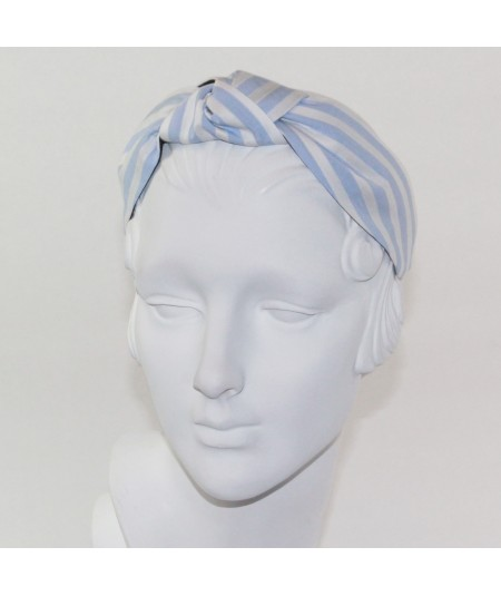 Blue/White Cotton Stripe Center Turban Headband