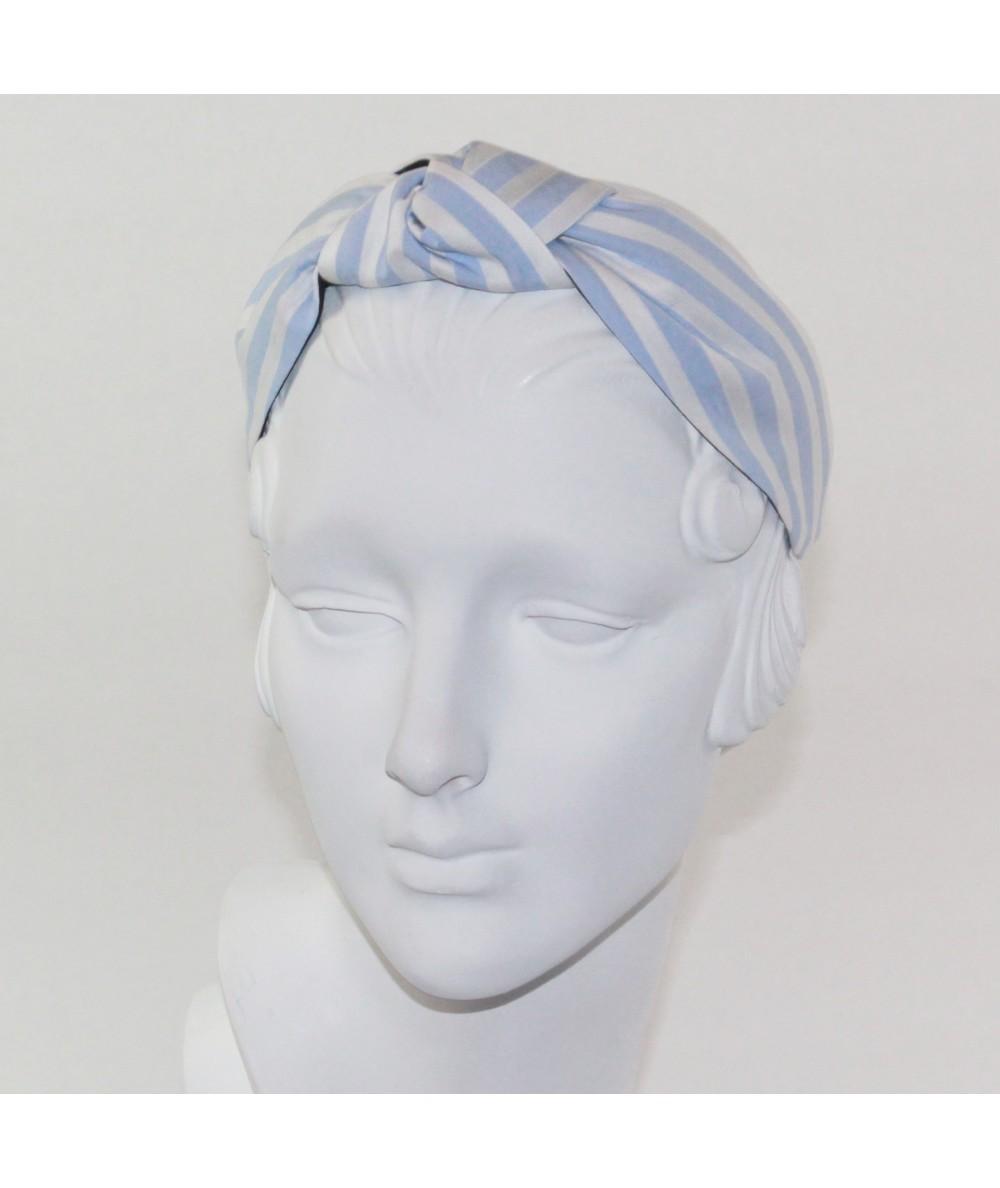 Blue/White Cotton Stripe Center Turban Headband