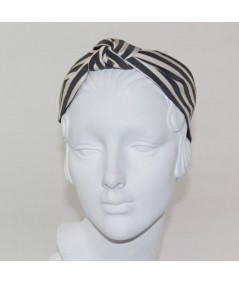 Cream/Charcoal Cotton Stripe Center Turban Headband